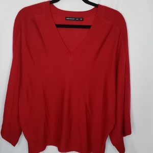 Karen Millen Red 100% Wool Sweater Dolman Sleeve